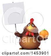 3d Chubby Brown Chicken Holding An Orange On A White Background