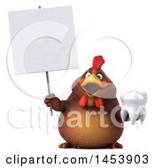 3d Chubby Brown Chicken Holding A Tooth On A White Background