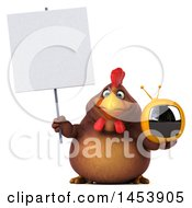 3d Chubby Brown Chicken Holding A Tv On A White Background