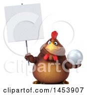 3d Chubby Brown Chicken Holding A Golf Ball On A White Background