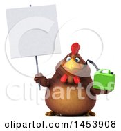 3d Chubby Brown Chicken Holding A Gas Can On A White Background