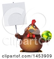 3d Chubby Brown Chicken Holding A Globe On A White Background