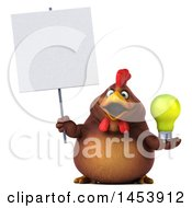 3d Chubby Brown Chicken Holding A Light Bulb On A White Background