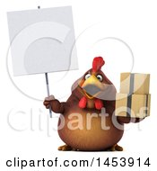 3d Chubby Brown Chicken Holding Boxes On A White Background