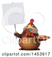 3d Chubby Brown Chicken Holding A Pizza On A White Background
