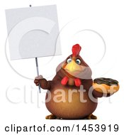 3d Chubby Brown Chicken Holding A Donut On A White Background