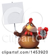 3d Chubby Brown Chicken Holding An Alarm Clock On A White Background