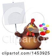 3d Chubby Brown Chicken Holding Speech Balloons On A White Background