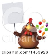 3d Chubby Brown Chicken Holding Produce On A White Background