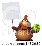 Poster, Art Print Of 3d Chubby Brown Chicken Holding A Globe On A White Background