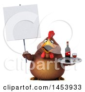 3d Chubby Brown Chicken Holding A Wine Tray On A White Background