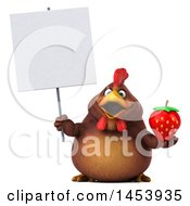 3d Chubby Brown Chicken Holding A Strawberry On A White Background