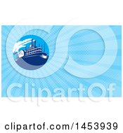 Clipart Of A Steamboat In A Circle And Blue Rays Background Or Business Card Design Royalty Free Illustration