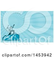 Clipart Of A Mountain Climber Cheering On Top Of A Mountain And Blue Rays Background Or Business Card Design Royalty Free Illustration