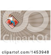 Cartoon Delivery Man Gesturing Ok And Carrying A Package In A Red Urban Diamond And Brown Rays Background Or Business Card Design