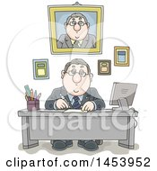 Clipart Of A Cartoon White Businessman Working At His Desk With His Portrait And Certificates On The Wall Behind Him Royalty Free Vector Illustration