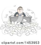 Clipart Of A Cartoon Overwhelmed White Business Man Working At His Desk Surrounded By Paperwork Royalty Free Vector Illustration