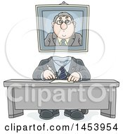 Cartoon Headless White Business Man Working At His Desk With His Portrait On The Wall Behind Him