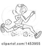 Clipart Of A Cartoon Black And White Lineart Lanky Female Jogger Running Royalty Free Vector Illustration