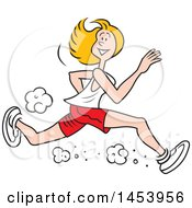 Clipart Of A Cartoon Lanky Caucasian Female Jogger Running Royalty Free Vector Illustration by Johnny Sajem
