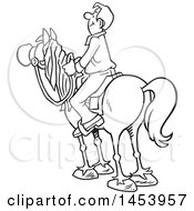 Clipart Of A Cartoon Black And White Horseback Man Surveying The Land Royalty Free Vector Illustration by Johnny Sajem