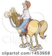 Clipart Of A Cartoon Horseback Caucasian Man Surveying The Land Royalty Free Vector Illustration
