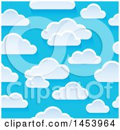 Clipart Of A Seamless Background Of White Clouds In A Blue Sky Royalty Free Vector Illustration