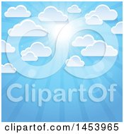 Clipart Of A Background Of White Clouds In A Blue Sky With A Shining Sun Royalty Free Vector Illustration by visekart