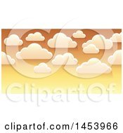 Clipart Of A Background Of White Clouds In An Orange Sunset Sky Royalty Free Vector Illustration