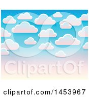 Clipart Of A Background Of White Clouds In A Gradient Pink And Blue Sky Royalty Free Vector Illustration