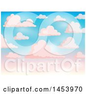 Background Of White Clouds In A Gradient Pink And Blue Sky