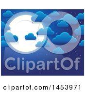 Clipart Of A Background Of Clouds And A Full Moon In A Blue Nighty Sky Royalty Free Vector Illustration by visekart