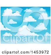 Clipart Of A Background Of White Clouds In A Blue Sky Royalty Free Vector Illustration