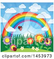 Colorful Rainbow Arch With A Sunny Sky Flowers And Ladybugs