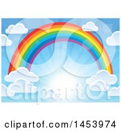 Clipart Of A Colorful Rainbow Arch With Puffy Clouds In A Sunny Sky Royalty Free Vector Illustration