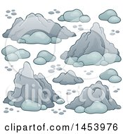 Clipart Of A Background Of Rocks And Stones Royalty Free Vector Illustration