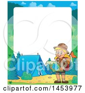 Poster, Art Print Of Border Of A Hiking Scout Girl Reading A Map By A Campfire