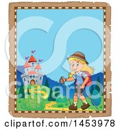 Clipart Of A Parchment Border Of A Happy Girl Hiking Near A Castle With Poles Royalty Free Vector Illustration