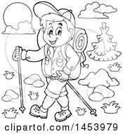 Clipart Of A Black And White Lineart Happy Boy Hiking With Poles Royalty Free Vector Illustration