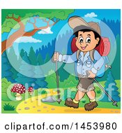Clipart Of A Happy Boy Hiking With Poles Royalty Free Vector Illustration by visekart