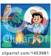 Clipart Of A Happy Boy Hiking To A Camp Site With Poles Royalty Free Vector Illustration