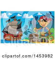 Clipart Of A Monkey Pirate Holding A Sword By A Treasure Chest On A Beach Royalty Free Vector Illustration by visekart
