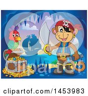 Clipart Of A Monkey Pirate Holding A Sword And Telescope By A Parrot On A Treasure Chest In A Cave Royalty Free Vector Illustration by visekart