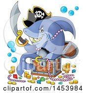 Clipart Of A Pirate Shark Holding A Sword And Sitting In A Treasure Chest Royalty Free Vector Illustration