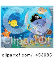 Clipart Of A Pirate Shark Holding A Sword And Sitting In A Treasure Chest Underwater Royalty Free Vector Illustration by visekart