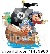 Clipart Of A Pirate And Captain With A Parrot On A Ship Royalty Free Vector Illustration by visekart