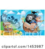 Clipart Of A Pirate And Captain With A Parrot On A Ship Approaching Treasure On An Island Royalty Free Vector Illustration by visekart