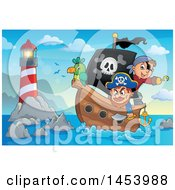 Clipart Of A Pirate And Captain With A Parrot On A Ship Near A Lighthouse Royalty Free Vector Illustration by visekart