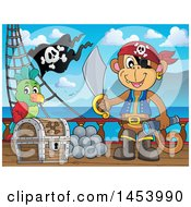 Clipart Of A Monkey Pirate Holding A Sword And Telescope By A Parrot On A Treasure Chest On Deck Royalty Free Vector Illustration