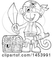 Clipart Of A Black And White Lineart Monkey Pirate Holding A Sword And Telescope By A Treasure Chest Royalty Free Vector Illustration